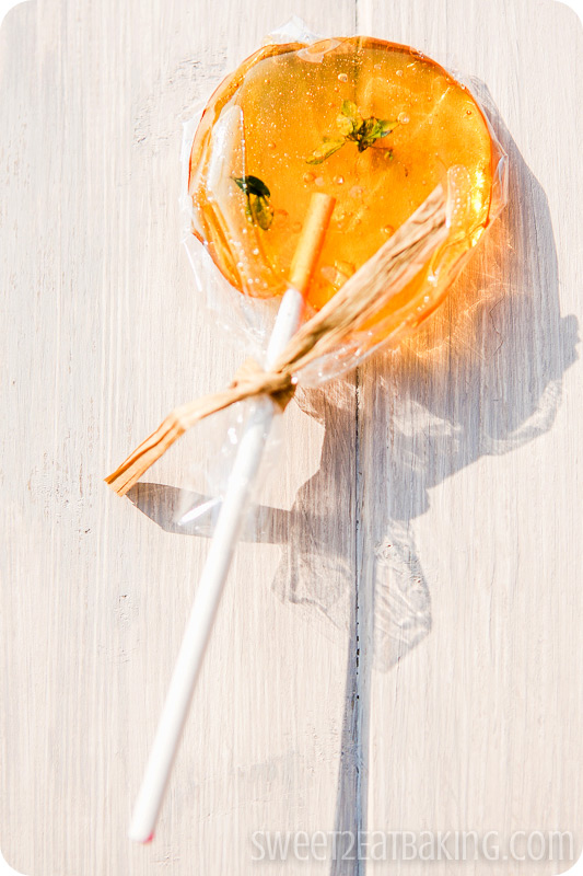 Orange extract with lemon thyme lollipop - Foodie PenPals July 2012