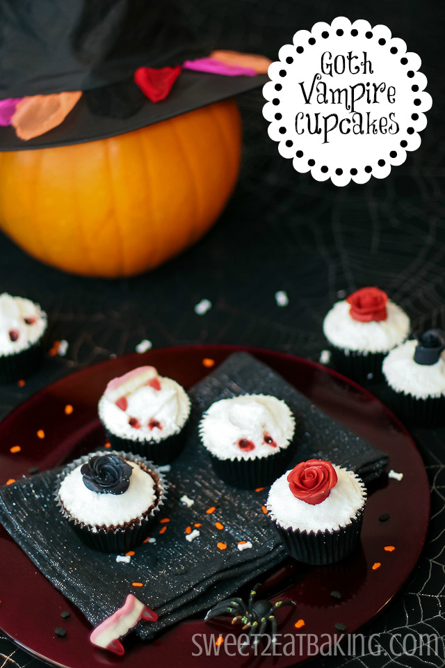 Goth Vampire Rose Halloween Cupcakes