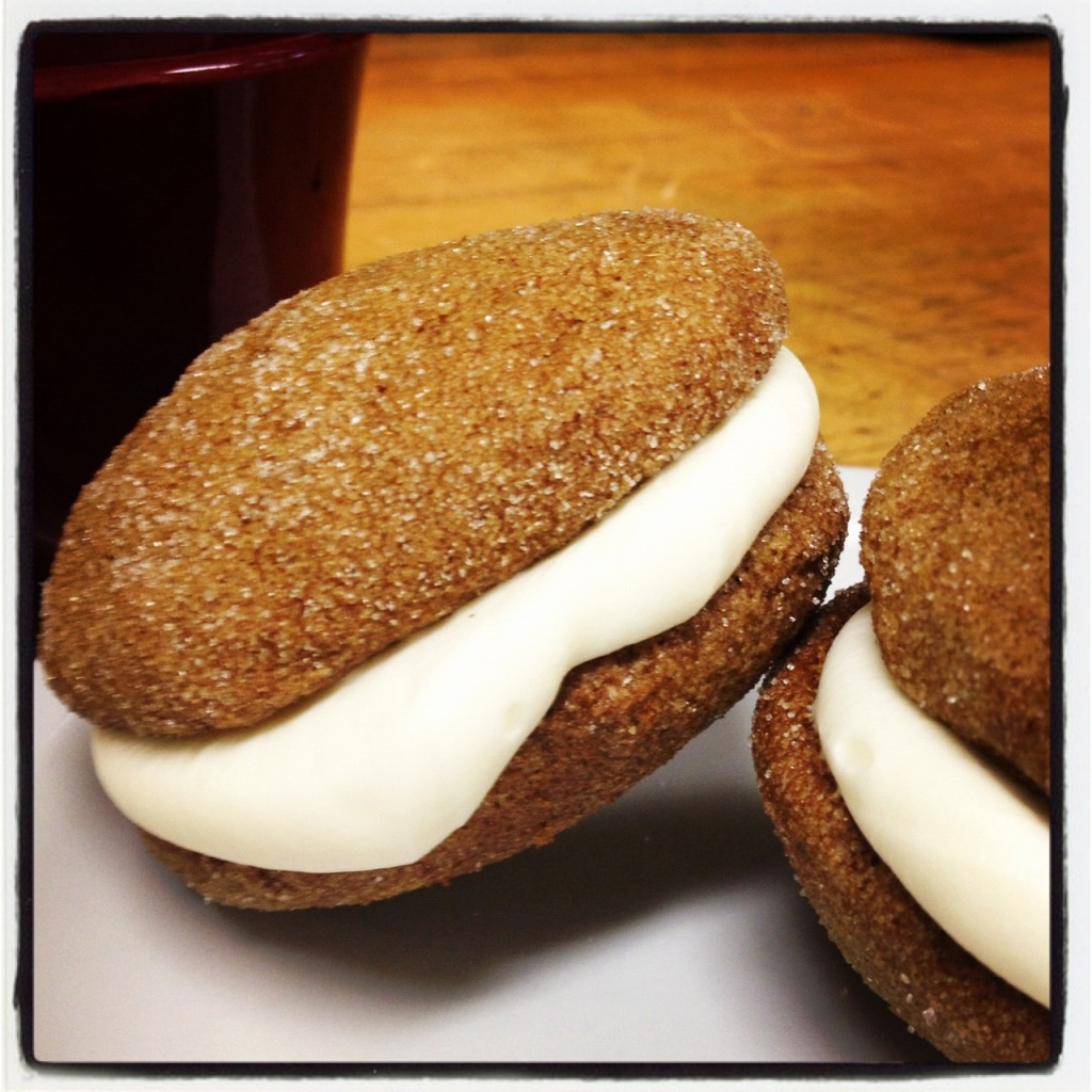 Pumpkin Gingerbread Whoopie Pies w/Cream Cheese Filling by Smitten Foodie