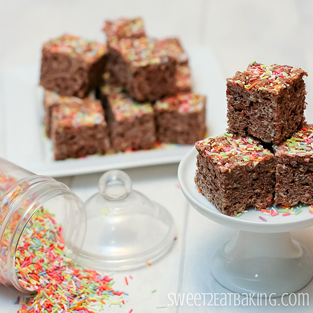 Chocolate Funfetti Cake Batter Rice Krispie Treats