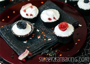 Gothic Rose Vampire Bite Cupcakes