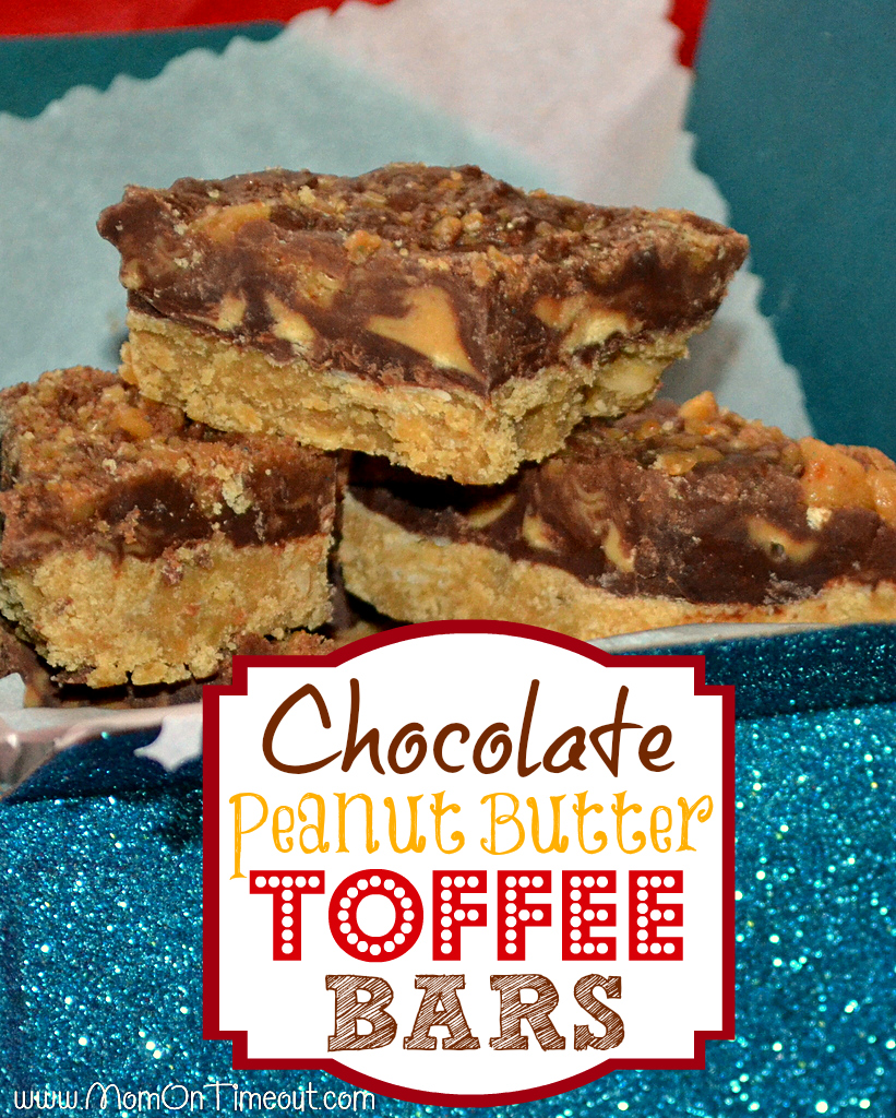 Chocolate Peanut Butter Toffee Bars by Mom on Timeout