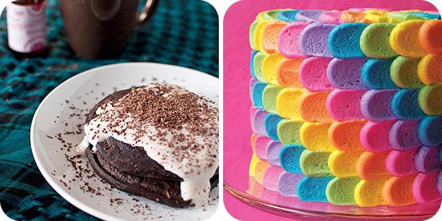 Peppermint Mocha Protein Pancakes & Rainbow Petal Cake