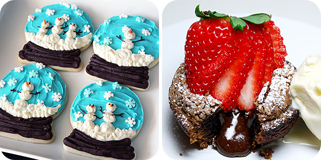 Snow Globe Snowman Sugar Cookies | Molten Lava Cakes (with a twist)