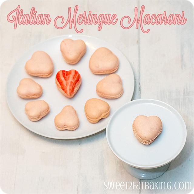 Italian Meringue Valentine's Heart Macarons #cookies #baking #macarons