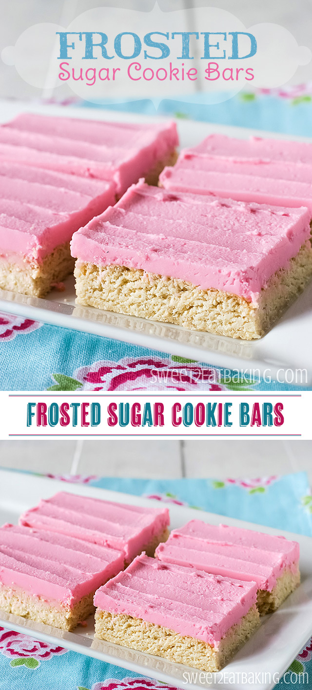 Delicious Frosted Sugar Cookie Bars by Sweet2EatBaking.com