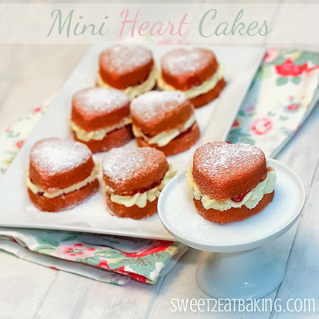 Victoria Sponge Cakes Mini Heart Cakes