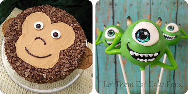 Peanut Butter Chocolate Monkey Cake | Monsters Inc. Mike Wazowski Cake Pops