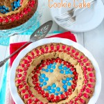 Brown Butter Captain America Chocolate Chip Cookie Cake   Sweet2EatBaking.com   #chocolatechips #cookie #cake #mms #recipe #baking