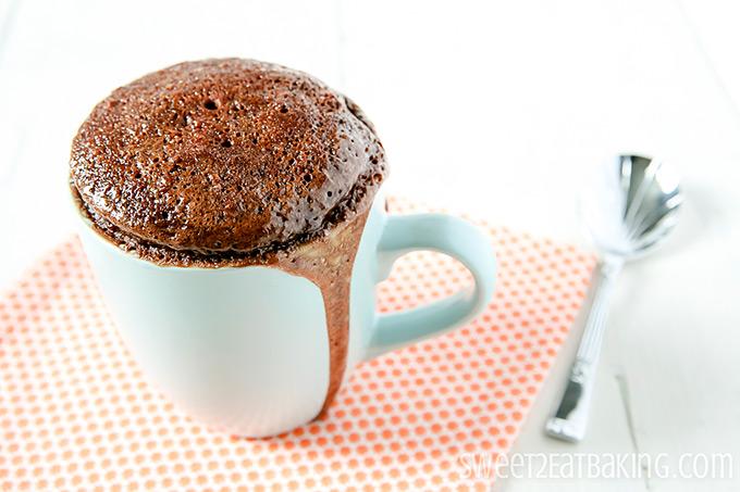 Chocolate & Peanut Butter Mug Cake by Sweet2EatBaking.com