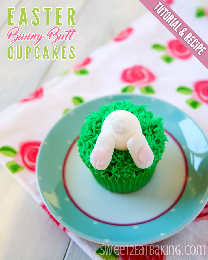 Easter Bunny Butt Cupcakes Recipe and Tutorial by Sweet2EatBaking.com
